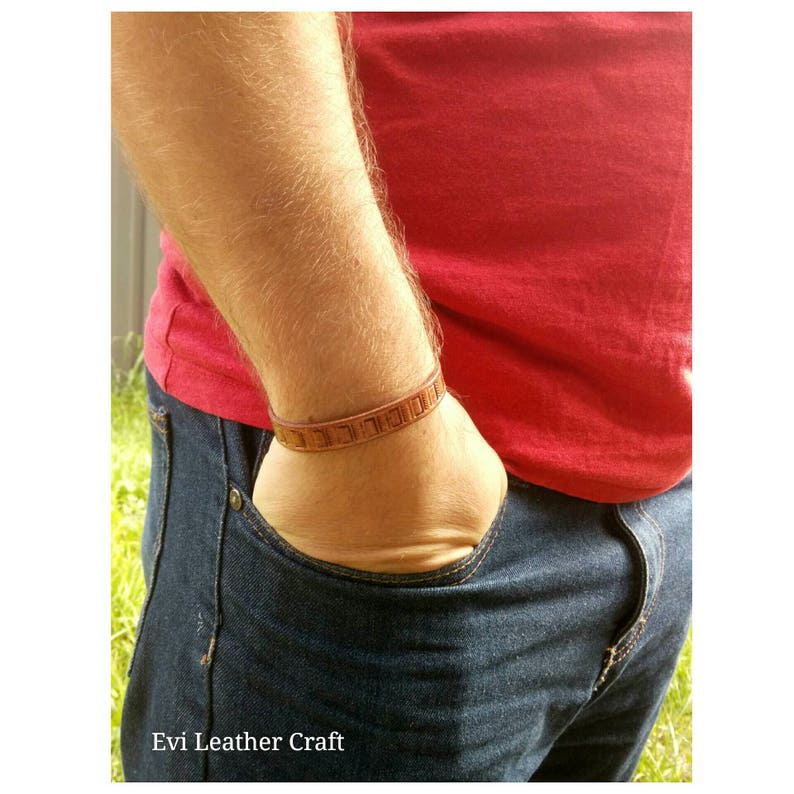 gift leather wristband brown  bracelet Embossed Leather bracelet leather jewellery men/'s cuff hand tooled leather cuff