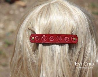 Burgundy Leather French hair barrette, Handmade Tooled Leather Hair Clip, Hair Accessory, burgundy flower, Ponytail Holder