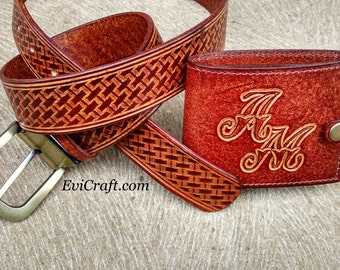 Gift SET for men / Personalized leather wallet and leather belt / monogram / Billfold / groom gift / wedding gift