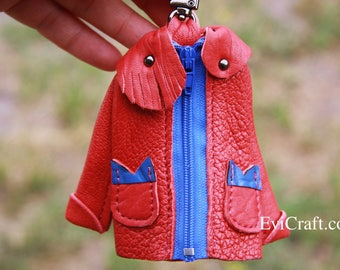 Leather jacket key case, handmade leather gift, key holder, red key chain, purple, blue, bag accessories, unique and OOAK
