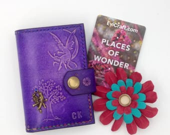Fairy Leather card wallet, Credit Card holder, organiser, handmade and hand stitched, violet,  purple leather,fairy, flower, bubble