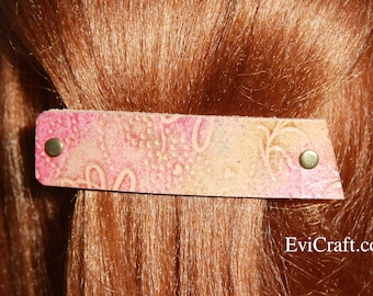 Hand paint and embossed Leather French hair barrette, veg tanned Leather Hair clip, Hair Accessory, pink flowers, bubbles, rainbow