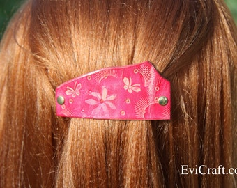 Handmade Leather French hair barrette, Leather Hair clip, women Hair Accessory, flowers red butterfly leather hair accessory