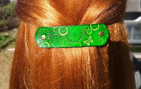 Handmade Leather French hair barrette flowers green leather hair accessory Leather Hair clip asymmetry women Hair Accessory
