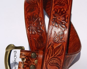 Any colour Floral ornament Embossed Leather Belt, brown belt, handmade gift, flowers, vegetable tanned leather, personalised, plus size