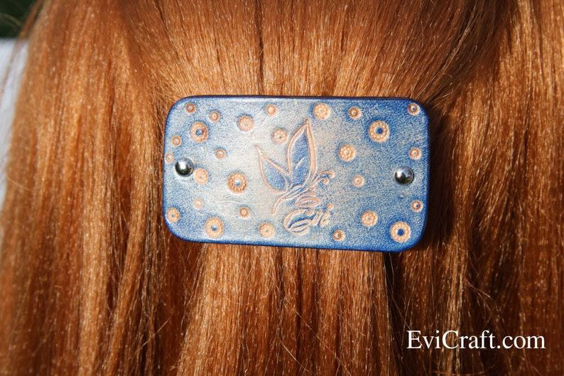 Evi Leather French hair barrette butterfly women Hair Accessory Handmade Tooled Leather Hair Clip hair fashion blue leather accessory