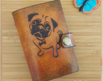 Pug dog Leather wallet, Credit Card case, business card holder, organiser, pug puppy and shoe,  personalised gift