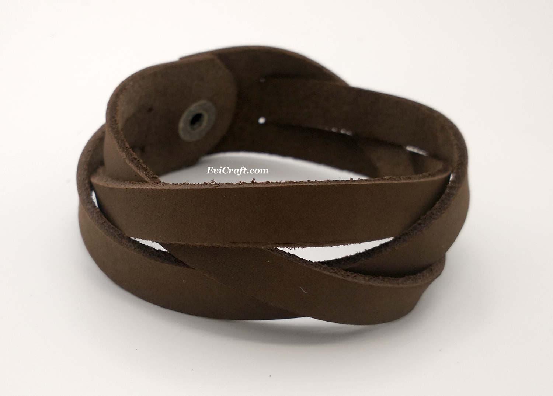 Mystery Braid 25 mm nubuck brown Leather braided bracelet