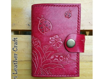 Personalised Leather card wallet, Credit Card holder, business card organiser, handmade, hand stitched red leather, ladybug