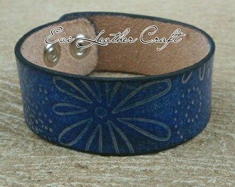 25 mm blue Leather bracelet with floral ornaments /055/ hand tooled leather cuff /blue leather wristband, leather jewellery