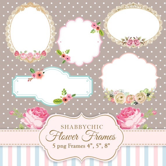 Shabbychic Flower Frames PNG Flowers Label