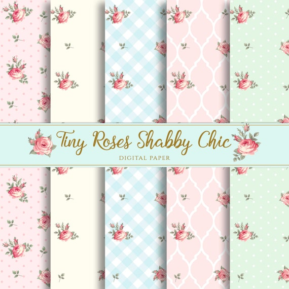 Shabby Chic Tiny Roses Digital Paper Background