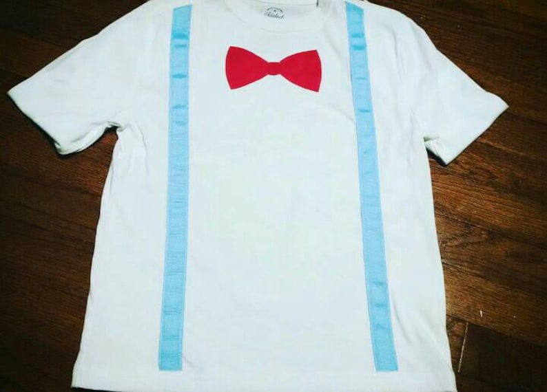 5bc123cd9ead Toddler Boy T Shirt with Suspenders & Tie Blue and Red Bow Tie | Etsy