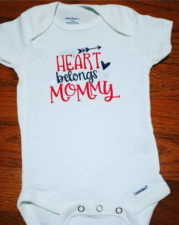 be95d28f My Heart Belongs to Mommy OR Mommy's Main Man Baby Onesie | Etsy