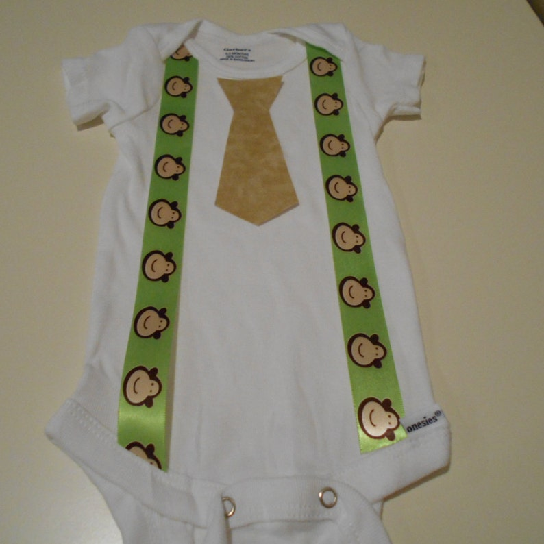 Boy Shirt Clothes Onesies Green Monkey Suspenders /& Tan Tie Newborn Toddler Coming Home Outfit Funny Cute