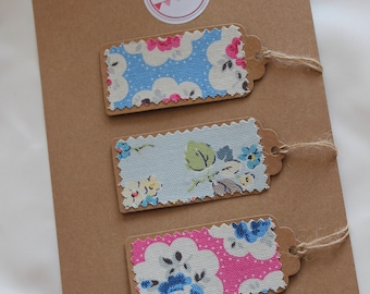 Fabric floral handmade gift tags, kraft card, cross stitch, personalised tags