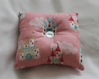 Novelty fun pink princess fabric pin cushion, double sided, sewing accessory, sewing necessity, novelty pin cushion, fabric pin cushion