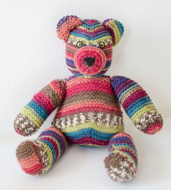 Kikko The Teddy Bear Striped Hand Knitted Stuffed Animal Wool Toy
