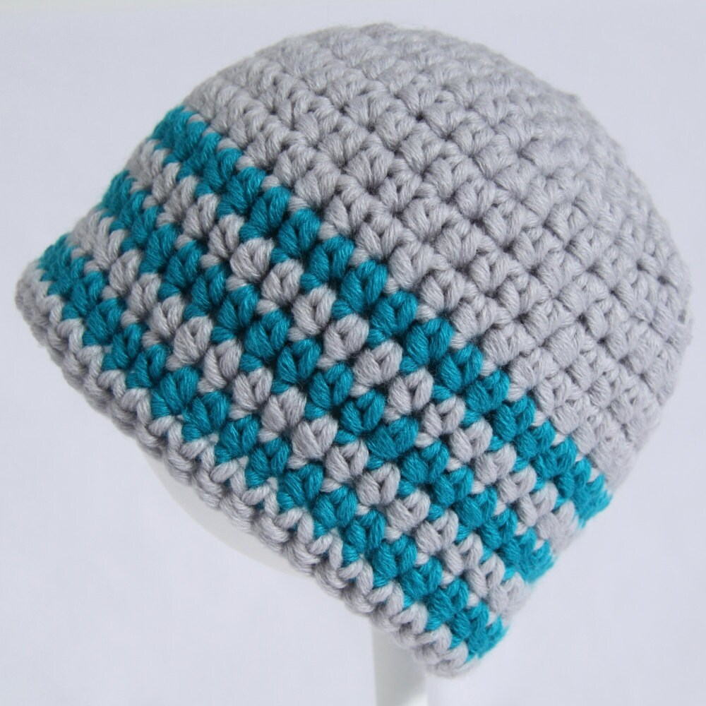 Silver Grey And Turquoise Striped Crochet Child's Beanie