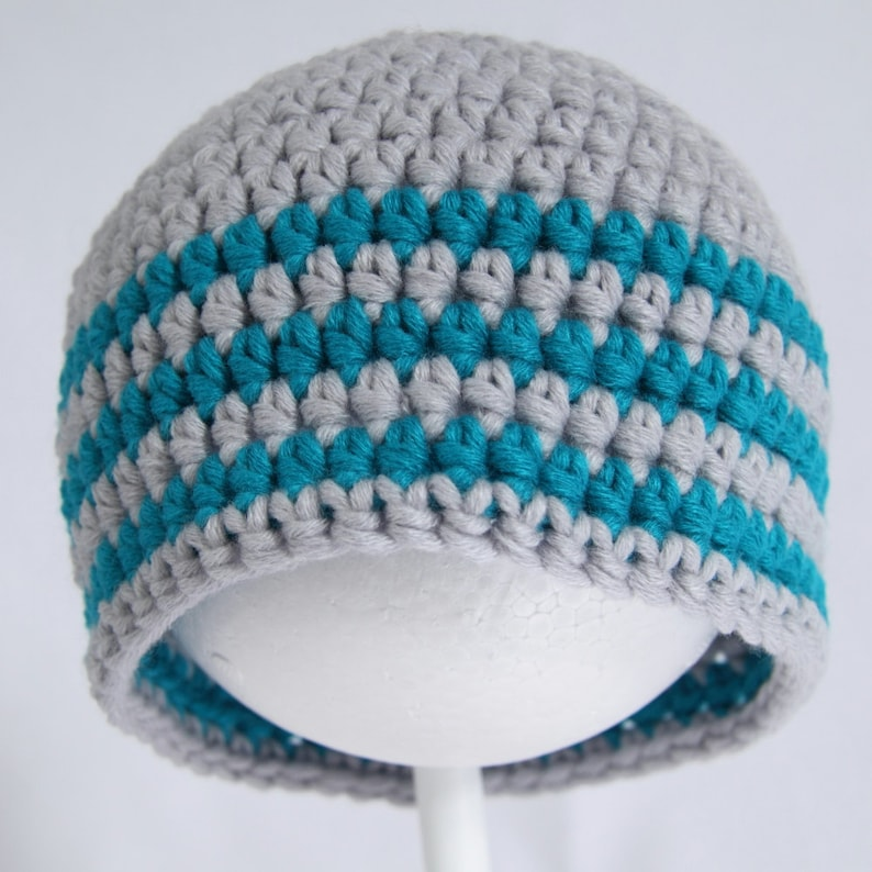 Child/'s size 2 to 5 years. Suits a boy or girl Silver grey and turquoise striped crochet child/'s beanie hat Handmade in merino wool