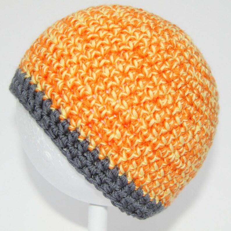 27470ebcbc Mandarina brillante naranja amarillo y gris de ganchillo