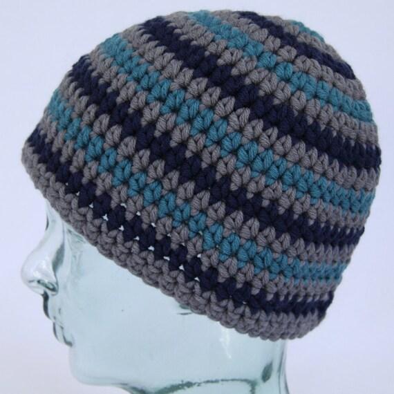 edd7e2fdef5 Teal navy   grey striped crochet beanie hat. Handmade in