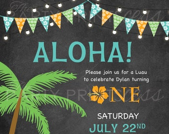 Luau First Birthday Invitation- Hawaiian luau, aloha, luau birthday, birthday luau invitation