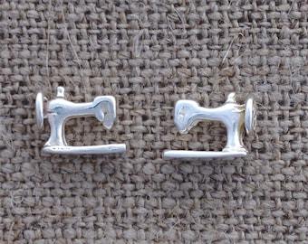 sewing machine earrings - sterling silver studs