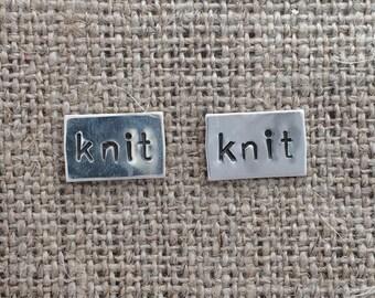 knit rectangle stud earrings - sterling silver