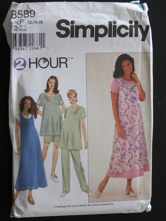 Jumper Top Simplicity 8589 Maternity Dress Pants or Shorts  Sewing Pattern