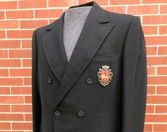 46772e98fa4 Original Vintage 1970s 70s Men s Black Double-Breasted University Suit  Jacket Vintage Men s Men s Suit 70s Suit Double Breasted Jacket Disco