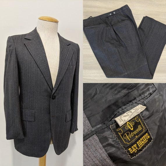 Vintage 1970's Men's Grey Suit Two-Piece Suit 70's
