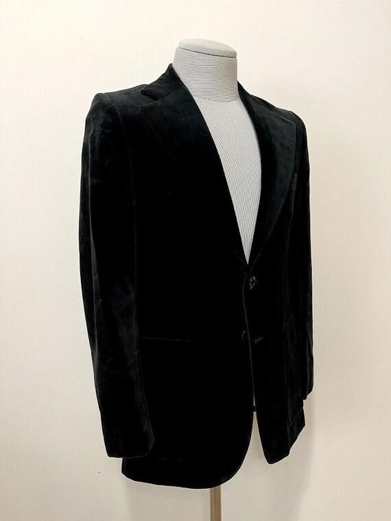 Vintage 1980's Men's Black Velvet Suit Jacket Retr