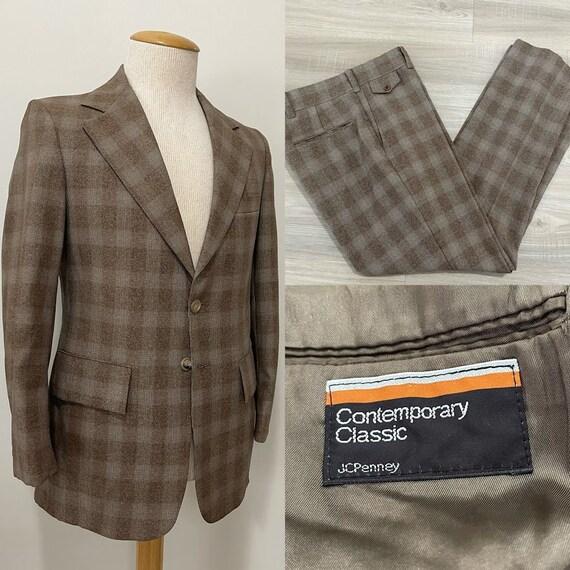 Vintage 1970's Men's Glen Plaid Suit Polyester Sui