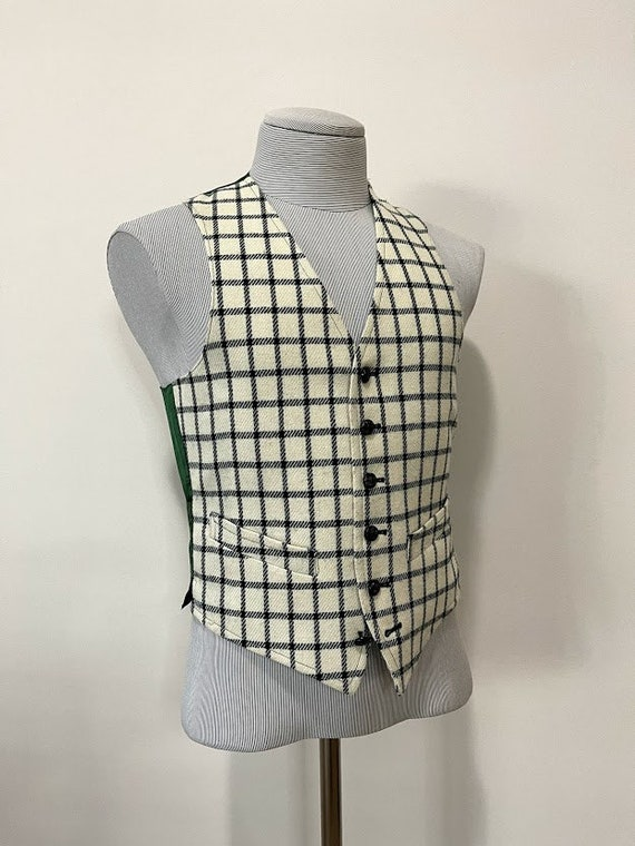 Vintage 1970's Men's Wool Plaid Vest Kilt Vest Woo