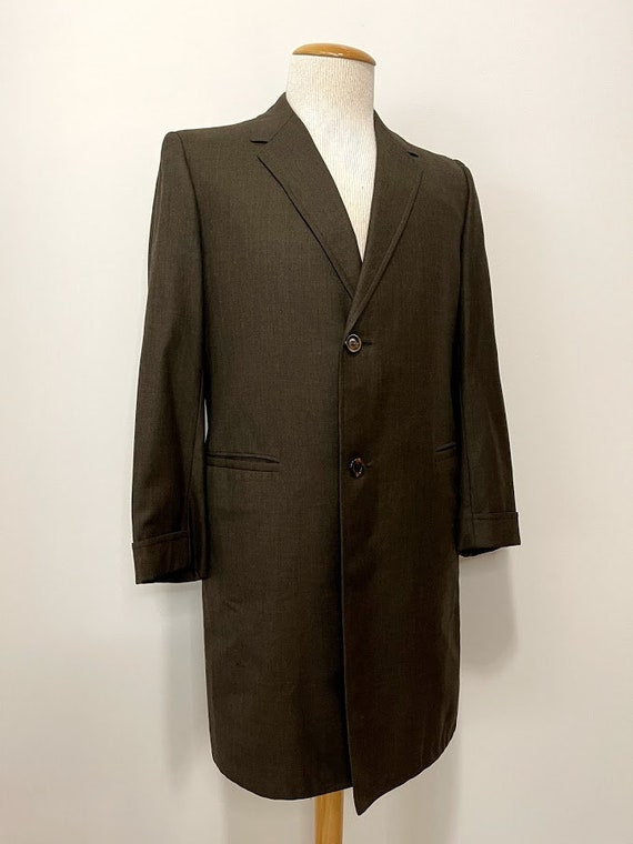 Vintage 1970's Men's Brown Wool Overcoat 70's Coat