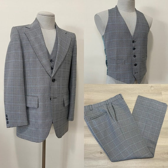 Vintage 1970's Men's Glen Plaid Three-Piece Suit P