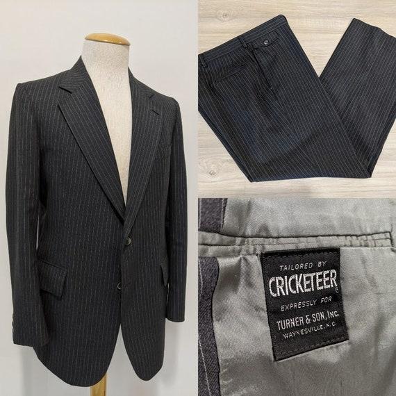 Vintage 1970's Men's Grey Wool Suit Two-Piece Suit