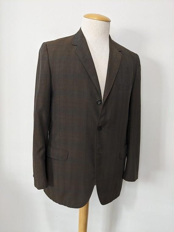 Vintage 1960's Men's Brown Plaid Wool Suit Jacket