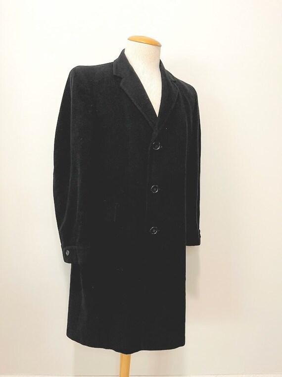 Vintage 1950's Men's Black Overcoat Wool Overcoat