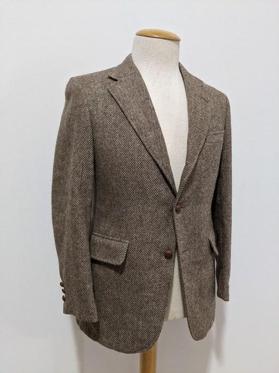 Vintage 1970's Men's Brown Wool Twill Suit Jacket