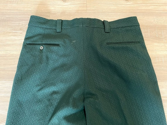 Vintage 1970's Men's Green Polyester Trousers Pol… - image 3