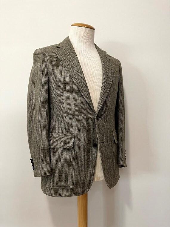 Vintage 1970's Men's Grey Green Herringbone Wool S