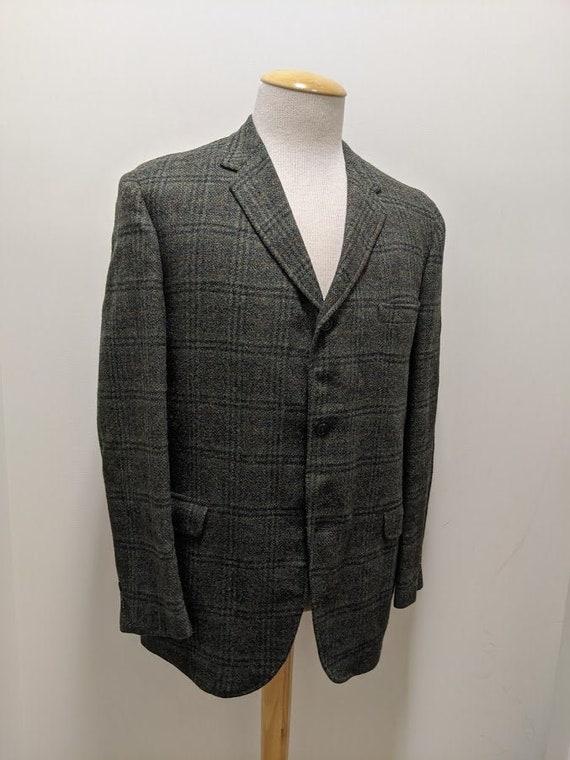 Vintage 1960's 60's Men's Wool Plaid Suit Jacket R