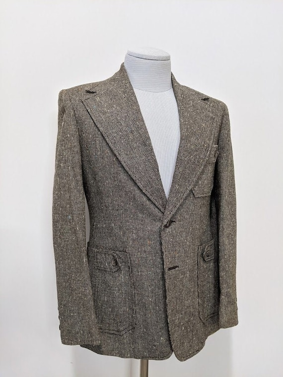 Vintage 1970's Men's Grey Tweed Suit Jacket Wool S