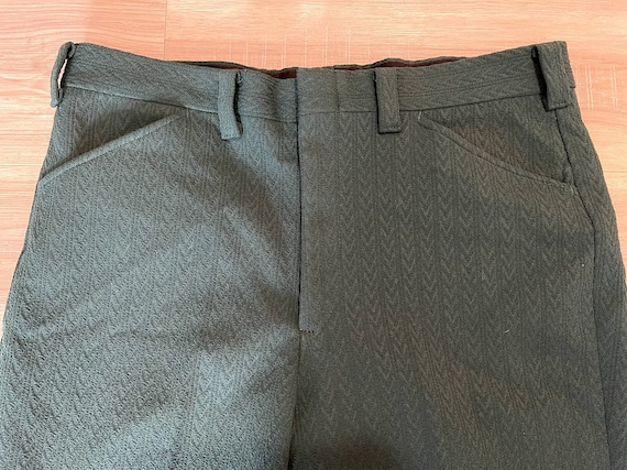 Vintage 1970's Men's Green Polyester Trousers Pol… - image 2