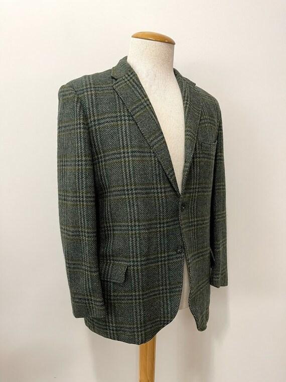 Vintage 1960's Men's Green Plaid Suit Jacket 60's