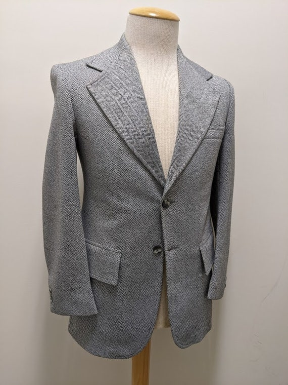 Vintage 1970's Men's Grey Herringbone Suit Jacket