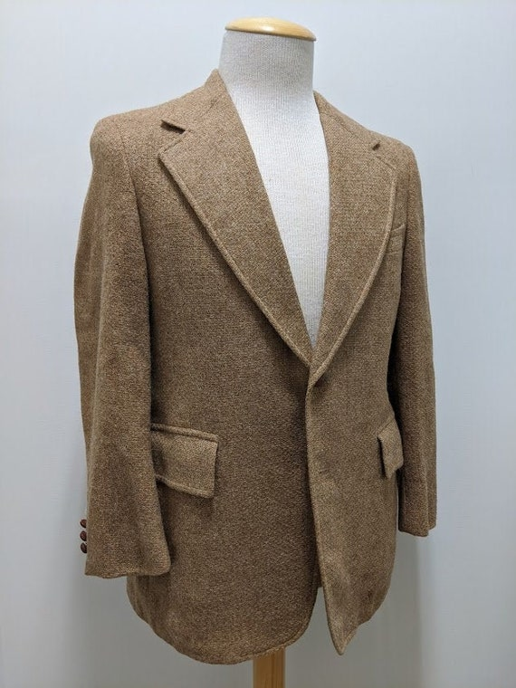 Vintage 1970's 70's Men's Beige Wool Tweed Suit Ja
