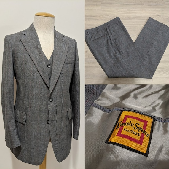 Vintage 1970's 70's Men's Grey Glen Plaid Three-Pi